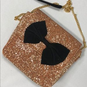 Rose gold bling shimmer bow crossbody bag